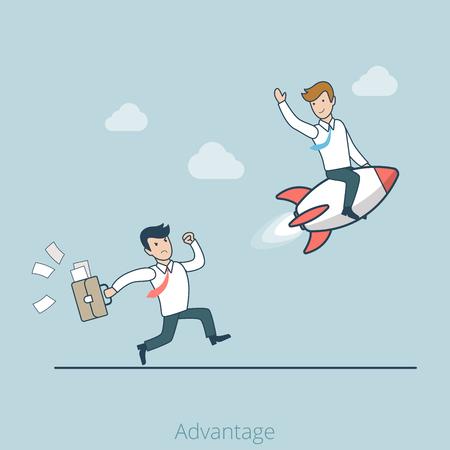 Lineal exitoso hombre de negocios plana en el cohete, enojado competidor trata de atrapar la infografía web ilustración vectorial. negocio una ventaja competitiva y concepto de marketing.
