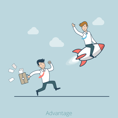 competitor: Linear Flat successful businessman on rocket, angry competitor tries to catch web infographics vector illustration. Competitive advantage business and marketing concept.
