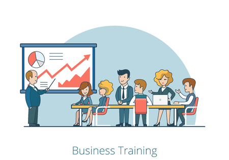 retraining: Linear Flat Business Coach and people listening in Training room vector illustration. Stuff retraining concept. Illustration