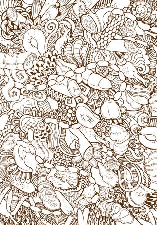 fiambres: Grabado salchichas vector dibujado a mano de la vendimia y carnes mezcla doodle de collage. Bosquejo del lápiz de embutidos, carne, salchichas, carne de cerdo hervida fría y la ilustración de gallina.