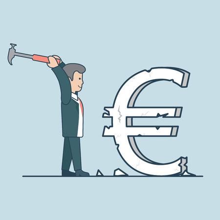 hummer: Linear Flat businessman crashing huge euro sign to pieces by hummer vector illustration. Breaking exchange rate concept. Illustration