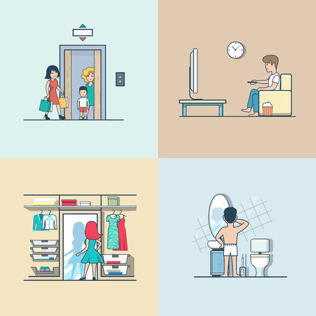 Linear Flat People at home, in apartment interiors vector illustration set. Woman in elevator, dressing in wardrobe, cleaning teeth in bathroom, watching TV in living room. Casual lifestyle concept.