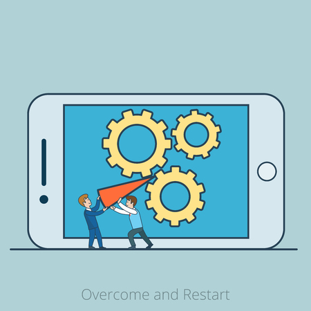 micro: Linear Flat Two Micro businessmen blocked gearwheels by red arrow on smartphone screen vector illustration. Overcome and business Restart concept. Illustration
