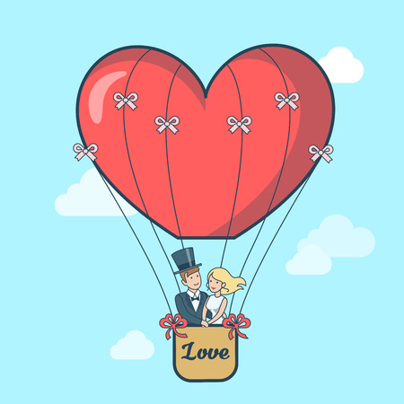 bride: Linear Flat Couple dressed for wedding flying in air Balloon in the form of heart vector illustration. Newly weds or Valentines day design for greeting card. Love and Romance concept.