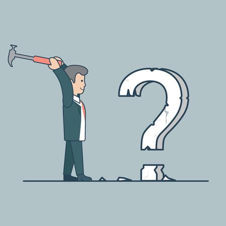 interrogation mark: Linear Flat businessman crashing huge interrogation mark to pieces by hummer vector illustration. Question solution concept.