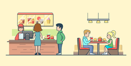 Linear Flat Couple eating burgers and fries, clients ordering food on bar vector illustration. Waiter, man, woman, client characters. Fast food concept.