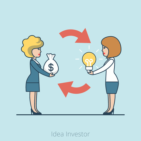 offering: Linear Flat Investor offering profit for Idea vector illustration. Money bag, lamp and businesswomen characters. Business investments concept.