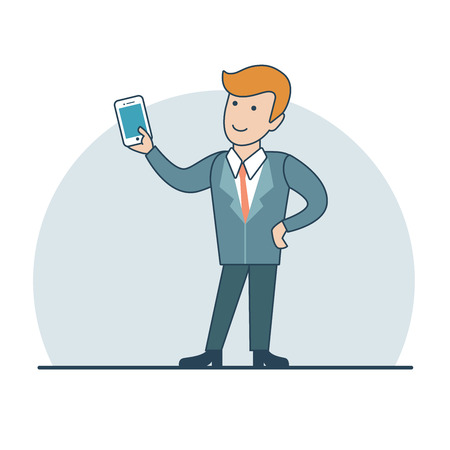 video call: Linear Flat happy Businessman holding smartphone in hand, making selfie or video call vector illustration. Business accessibility concept.