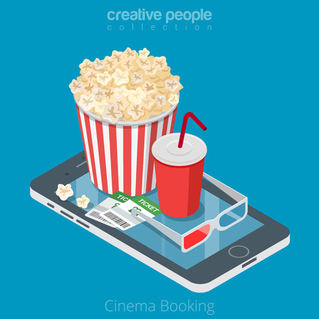 Flat isometrische bioscoopkaartjes, pop maïs en coda op smartphone vectorillustratie. 3d isometry online mobiel boekend app concept.