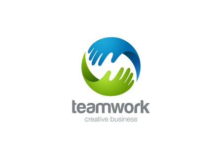 Teamwork Logo abstract two Hands helping. Circle design vector template.