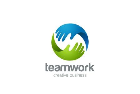 Teamwork Logo Zusammenfassung zwei Hände helfen. Kreis-Design-Vektor-Vorlage. Freundschaft Partnerschaft Unterstützung Teamarbeit Business Logotype icon