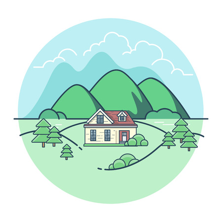 hamlet: Linear Flat Pretty house among mountains and trees, green background vector illustration. Eco village, union with nature concept. Illustration