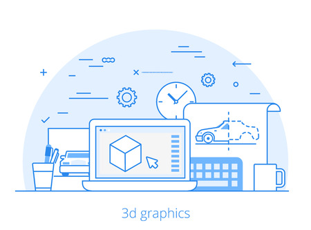 modelling: Lineart Flat 3D graphics service website hero image vector illustration. Digital art tools and technology concept. Laptop, sketch, modelling software interface.