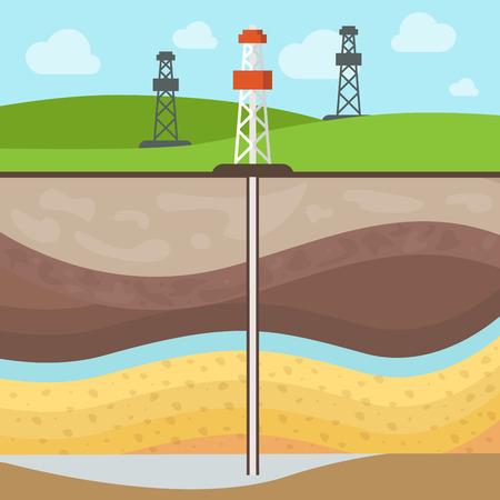 평면 기존의 가스 저수지, 미네랄 필드에 타워, 토양 레이어 벡터 일러스트 레이 션. 천연 가스 추출 개념입니다.