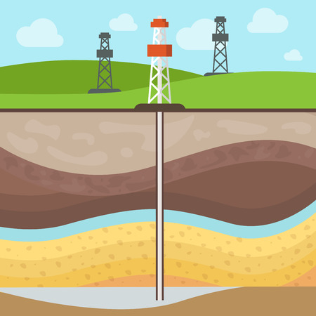 Flat Conventional gas reservoir, Towers on mineral field, Soil layers vector illustration. Natural Gas Extraction concept.