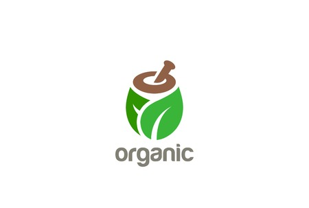 mortar and pestle: Natural Organic Eco Bio Green Logo design vector template.  Cosmetics, Medicine, Pharmacy, SPA logotype mortar pestle concept icon