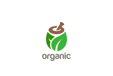 symbol mortar: Natural Organic Eco Bio Green Logo design vector template.  Cosmetics, Medicine, Pharmacy, SPA logotype mortar pestle concept icon