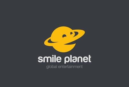 Sonrisa del logotipo del planeta plantilla de diseño abstracto del vector Foto de archivo - 63733914