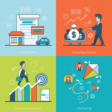 goal achievement: Linear Flat businessman driving money bags on cart, climbing diagram vector illustration. Paying Bills, Growing Income, Goal Achievement, Marketing business concept.