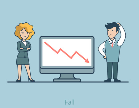 Linear Flat Business people disappointed about loss vector illustration. Graphic on monitor falling down. Business Fall concept. Illustration