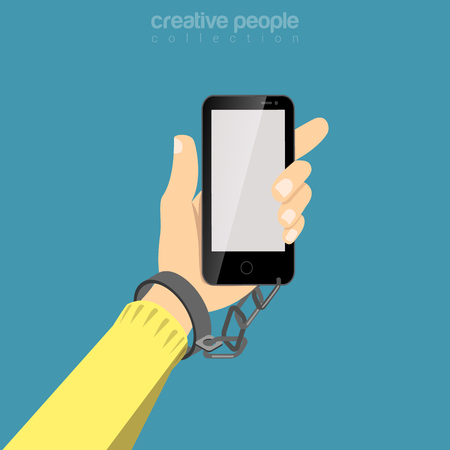 Flat isometric Mans hand chained to Smartphone vector illustration. Social networks addiction 3d isometry concept.