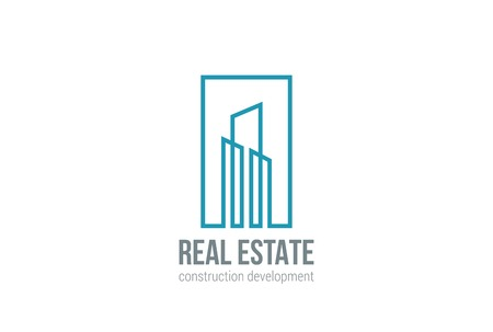 Real Estate Logo design vector template Linear style.  Building Construction Development Logotype concept icon Square shape Ilustração