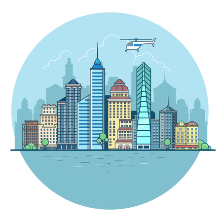 Linear Flat Buildings, skyscrapers, business center, offices and houses on water and sky background vector illustration. Modern city, Urban life concept.