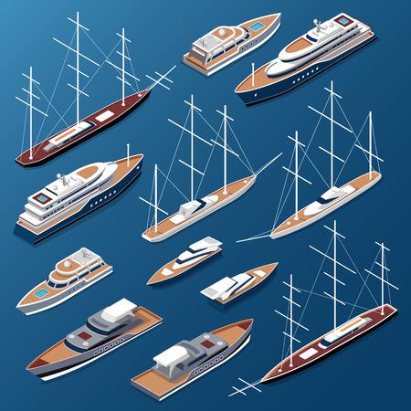a battleship: Isometric flat yachts and boats vector illustration set. Marine nautical transport collection. Illustration