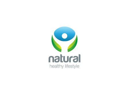 health and wellness: Eco Health green Logo design vector template circle shape.  Man with rising Hands up Logotype healthy lifestyle concept icon