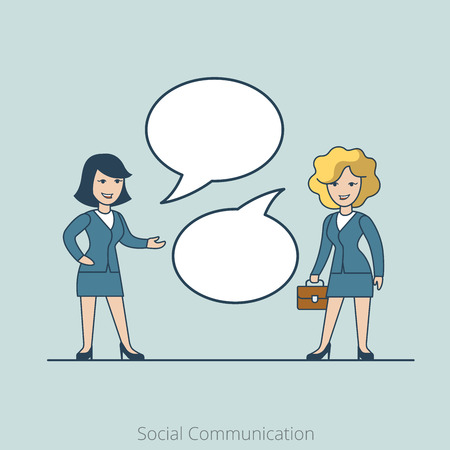 share information: Linear Flat Two businesswoman chat, share information vector illustration. Empty talk bubbles to place your text. Social Communication concept.