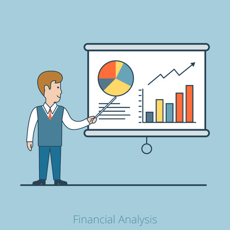 planing: Linear Flat Businessman shows report, presentation vector illustration. Financial Business Analysis, Audit, Planing concept. Illustration