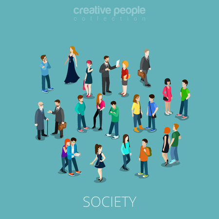Isometric flat Crowd of people vector illustration. Different teens and adults stand, talk, make phone call and listen music. Society members 3d isometry concept.