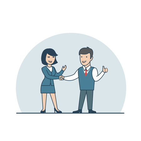 business agreement: Linear Flat Businessman and businesswoman handshake, thumbs up, making deal vector illustration. Business agreement concept.