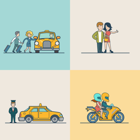 metaphoric: Flat Modern couple catching cab, motorcycle and VIP Taxi service vector illustration set. City Passenger Transportation concept.