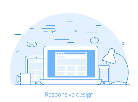 software design: Lineart Flat responsive web design layout website hero image vector illustration. App programming technology and software concept. Tablet, laptop, smartphone with wireframe.