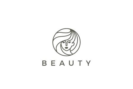 Belleza Peluquería salón de la mujer del logotipo de diseño vectorial círculo plantilla de forma. , Moda, maquillaje, el concepto de logo icono de estilo lineal SPA chica de peluquería