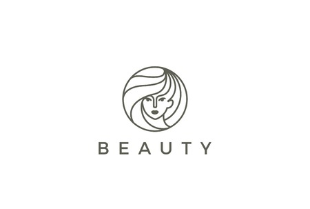 Beauty Hairdresser salon Woman Logo design vector template circle shape.  SPA, Fashion, Makeup, Hairdressing girl Logotype concept icon linear style