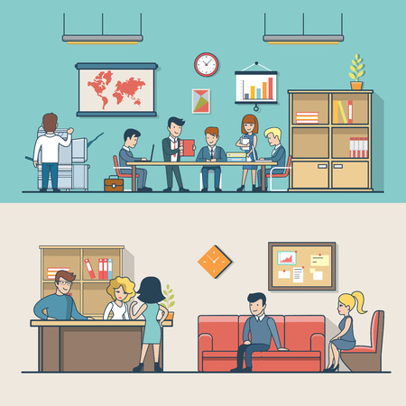 working in office: Linear Flat Business people at work place, clients waiting on reception vector illustration. Businessman, secretary, manager, client characters. Office life concept.