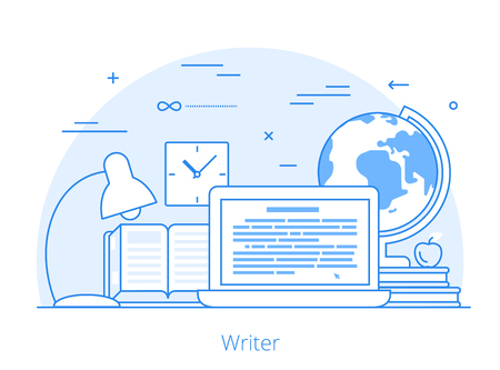 textual: Lineart Flat copywriting writer service website hero image vector illustration. Digital services tools and technology concept. Laptop, book, text editor software interface.