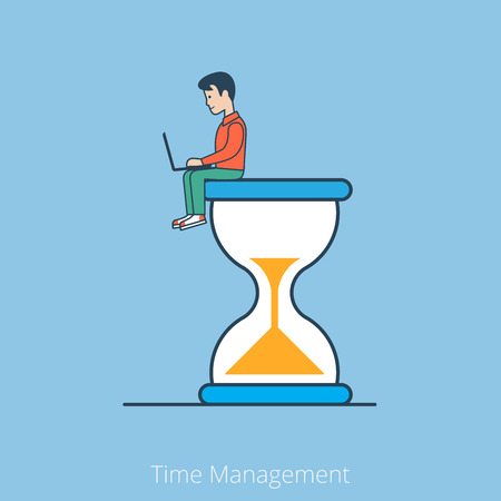 business time: Linear Flat businessman with laptop sitting on big hyperbolic hourglass vector illustration. Business Time Management concept. Illustration