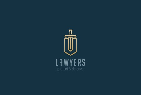 defence: Lawyer Attorney Advocate Logo design vector template Linear style.  Shield Sword Law Legal firm Security company logotype. Protect defense concept icon