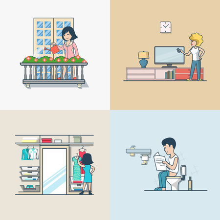 casual dress: Linear Flat People at home, in apartment interiors vector illustration set. Woman watering flowers on balcony, cleaning, choosing dress in wardrobe, man shit in WC toilet. Casual lifestyle concept. Illustration