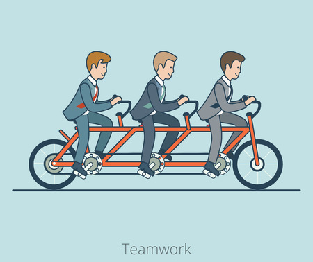 Linear Flat Three businessmen riding triple tandem bike vector illustration. Business corporate company team work concept. Illustration