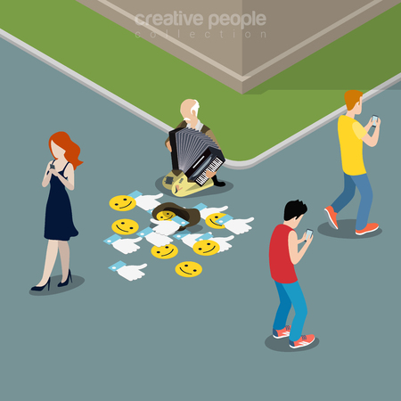Flat isometric Young people walking streets staring on Smartphone screens in hands, oldie with accordion gather Likes to hat vector illustration. Social networks addiction 3d isometry concept.