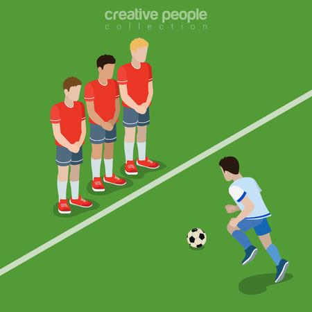 patada: El fútbol (fútbol) Pena de ilustración vectorial tiro libre isométrica plana. isometría imagen 3d futbolista defensor. Concepto de deportes de equipo.