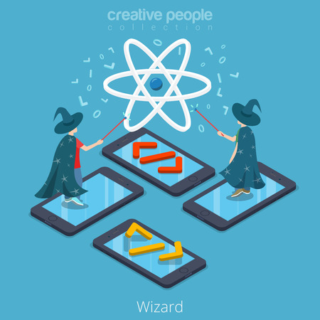 Isometric flat Programmers wearing magician costumes and magic wands in hands, standing on phones vector illustration. 3d Mobile App Wizard isometry concept.
