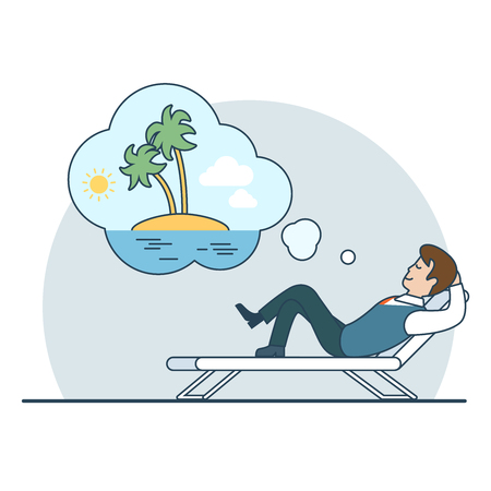 overwork: Linear Flat Businessman dreaming vacation on an uninhabited island vector illustration. Business overwork concept. Illustration