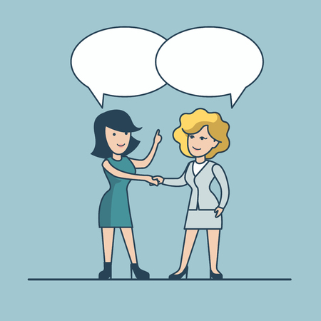 share information: Linear Flat Two businesswoman chat, share information vector illustration. Empty talk bubbles to place your text. Business promotion concept. Illustration