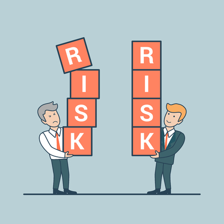 business risk: Linear Flat businessmen holding cubes with RISK words vector illustration. Risky and Stable business concept. Illustration