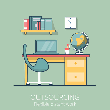 working place: Linear Flat Distant working place, cabinet interior vector illustration. Outsourcing business concept.